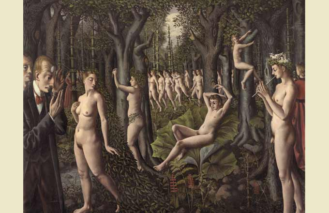 Paul Delvaux. L'éveil de la forêt, 1939. The Art Institute of Chicago, Joseph Winterbotham Collection. © 2018 Artists Rights Society (ARS), New York / SABAM, Brussels